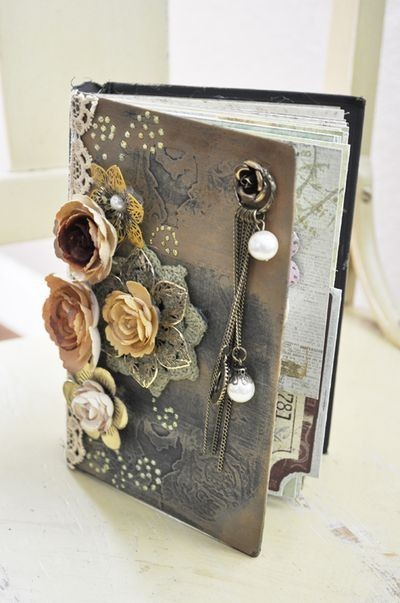 Old Book Cover Crafts : Black book brown copper crafts image on