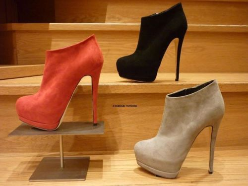 black, booties, grey, heels, red