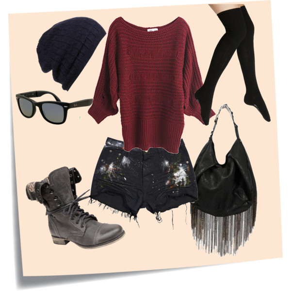 black, boots, cute, fashion, girly, hot, polyvore, red, rey ban, sexy, street, street wear