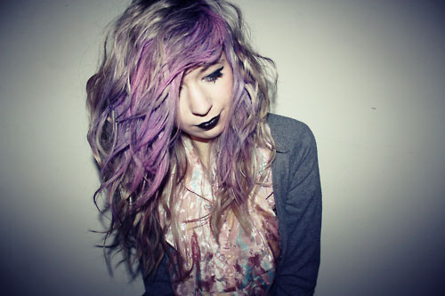 black, colored hair, cute, girl, grunge