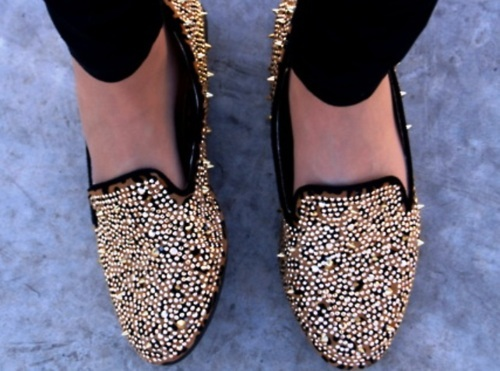 black, cute, fashion, flats, gold, nice, shoes, studs