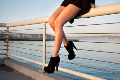 black, cute, fashion, high heels, sea, shoes, wedges