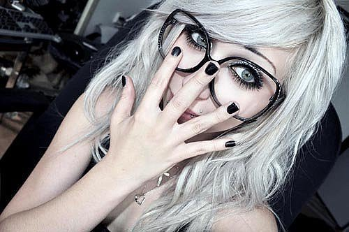 black, emo, girl, glasses, love