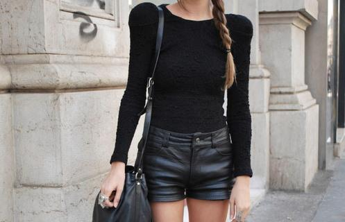 black, fashion, knit, knit sweater, leather, model, shoulder, shoulder pads, street fashion, street style