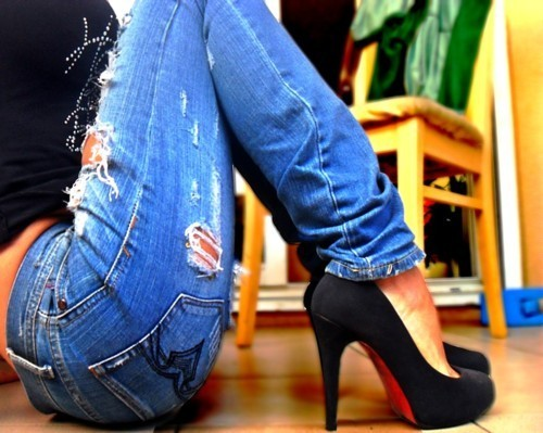 black, girl, heels, jeans, shoes, shoesh
