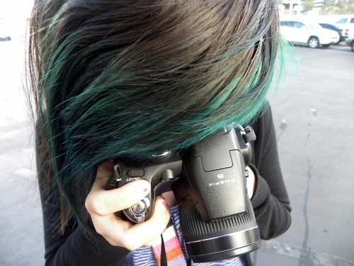 black hair, blue hair, girl, green hair