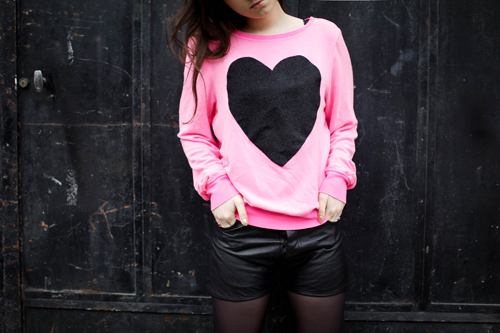 black, heart, leather, pink, short