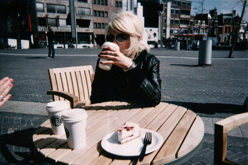 blond, blonde, city, coffee, cute