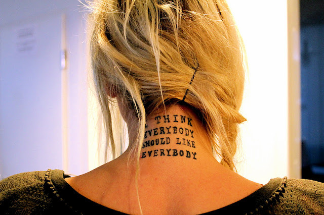 blond, girl, hair, neck, tattoo