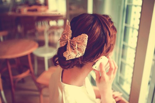 blonde, bow, cute, hair, lace