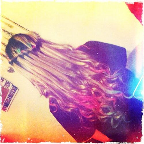 blonde, braid, curly, curly hair, girl, hair chalk, hair color, hairstyle, long hair, pink, waterfall braid