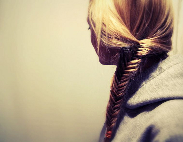 blonde, braid, fishtail, girl, hair