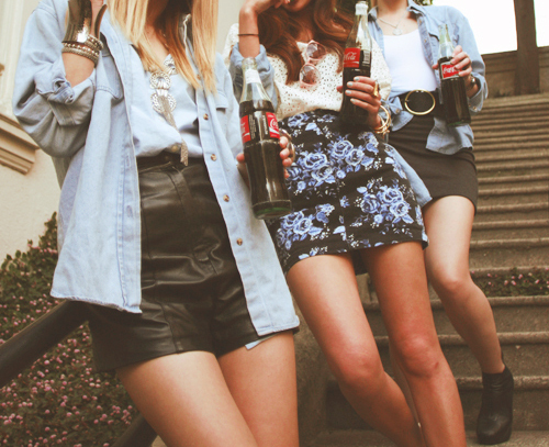 blonde, brunette, coke, fashion, flowers