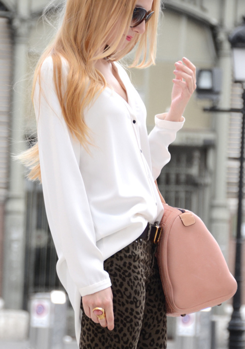blonde, chic, clothes, cute, fashion, girl, leopard jeans, long hair, mode, model, purse, straight hair, style, woman