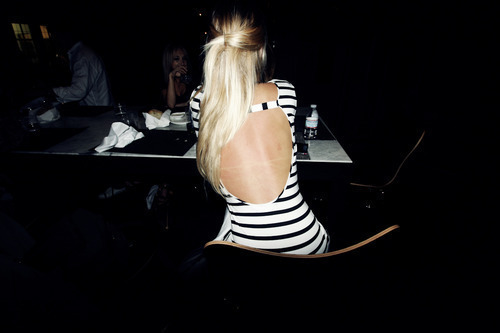 blonde, dress, fashion, hair, striped