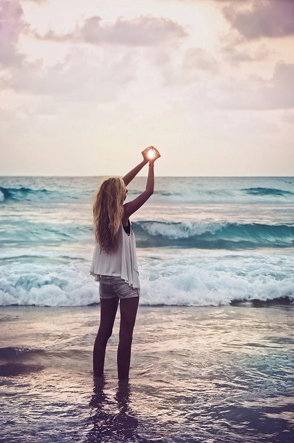 blonde, girl, hands, light, ocean