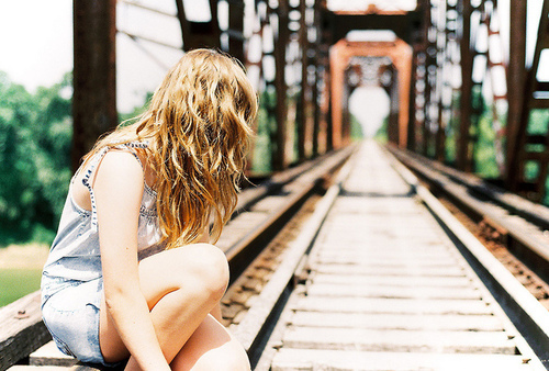 blonde, girl, railway, vintage