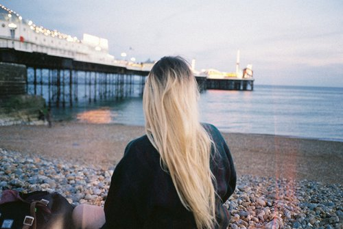 blonde, hair, sea