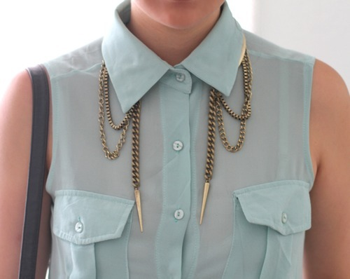 blouse, chain, cute, fashion, gold