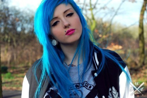 blue, blue hair, colorful, girl, hair