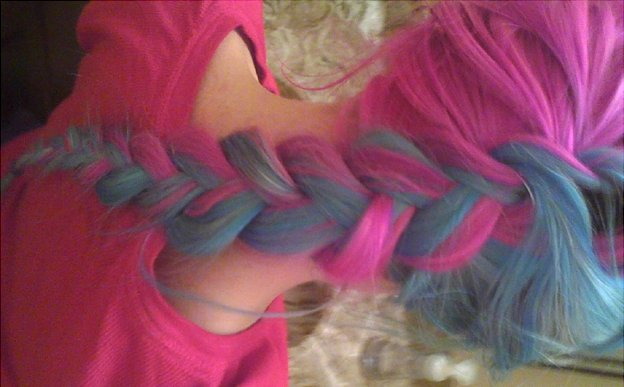blue, blue hair, girl, hair, pink