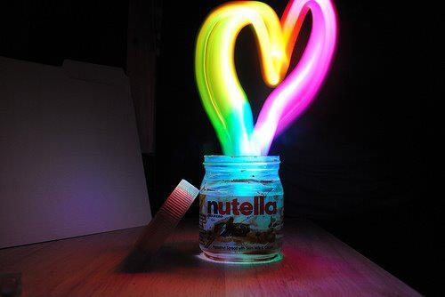 blue, bright, coracao, cute, heart, lights, neon, nutella, pink, sweet, yellow