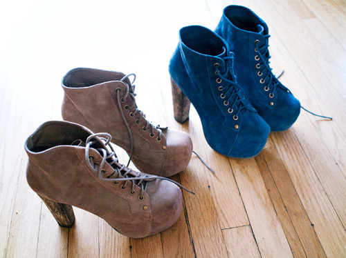 blue, brown, fashion, high heels, jeffery campbell 
