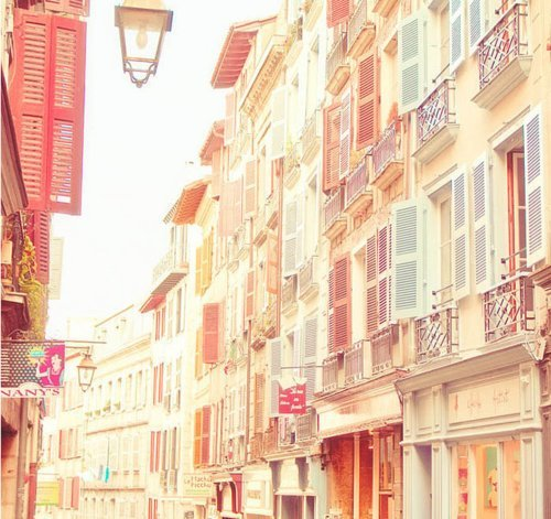 blue, buildings, cool, cute, nice buildings, orange, pastel, pink, red, shhhhhhhh, shopping, very girly, vintage, white