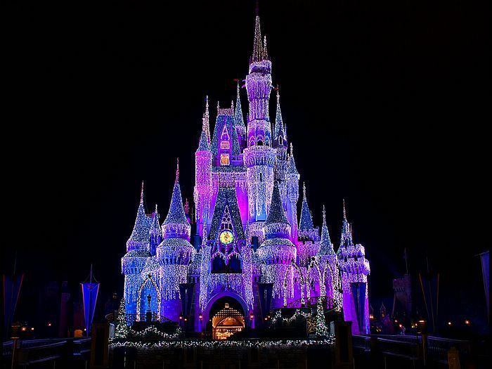 blue, castle, disney world, lights, pink