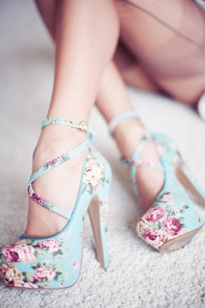 blue, clothes, cute, fashion, flower, heels, high, high heels, legs, pink, rose, woman