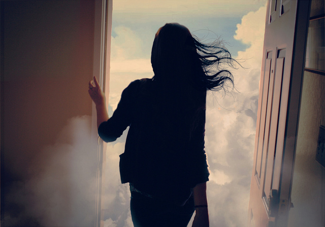 blue, clouds, door, girl, hair