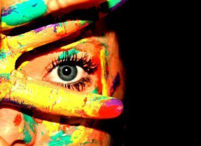 blue, color, cute, eye, eyes, finger, girl, look, nice, paint, pretty