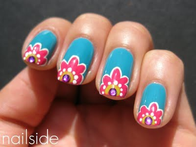blue, crystals, floral, flowers, lacquer, nail art, nail lacquer, nail polish, nails, pink, polish, purple, white, yellow