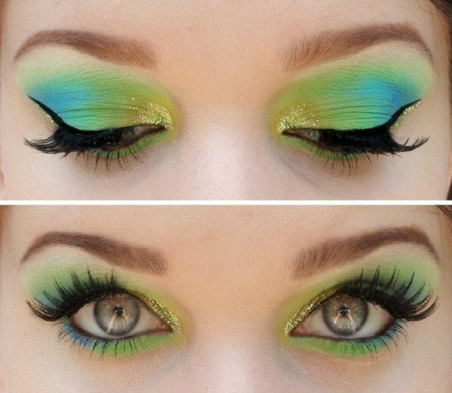 blue, cute, girl, green, love, make up, pretty