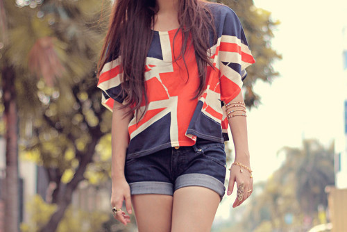 blue, england flag, girl, pretty, red