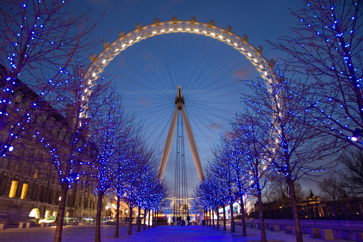 blue, ferris wheel, london, mystical, trees
