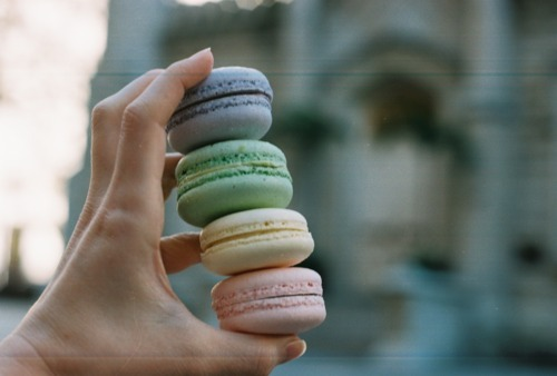 blue, food, green, hand, macarons