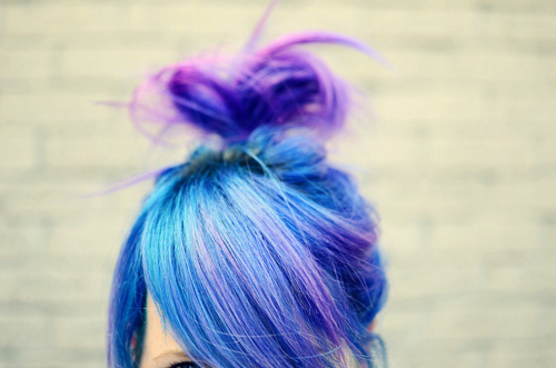 blue, girl, hair, purple