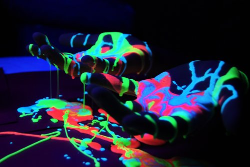 Blue glow paint green hands paint image 452671 on - Glow in the dark paint colors ...