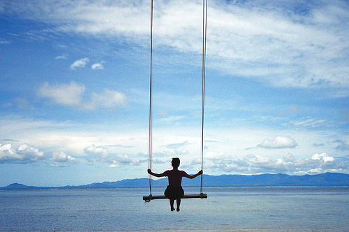 blue, pretty, sea, sky, swing