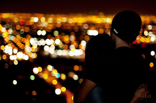 bokeh, boy, city, couple, girl, hug, lights, love, photography