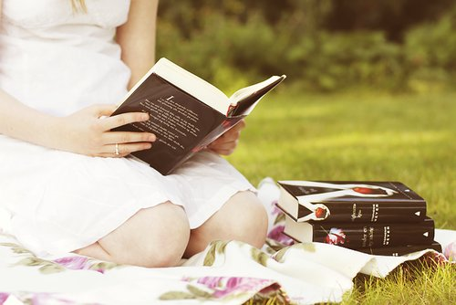 book, books, cute, dress, garden, girl, love, nice, photography, sweet, twilight