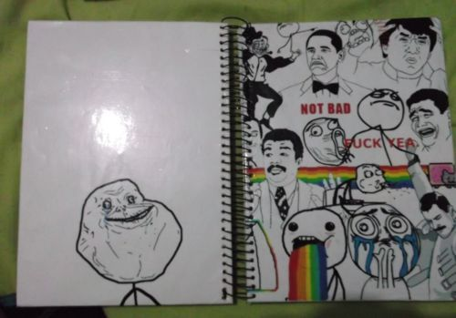 book, cute, forever alone, fuck yea, fun, funny, meme, memes, not bad, notebook, study, troll