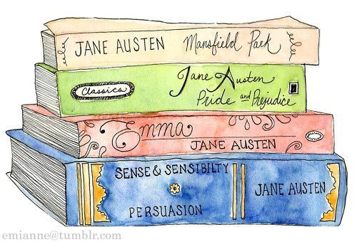 books, emma, illustration, jane austen, mansfield park, pride and prejudice, sense and sensibility, to post