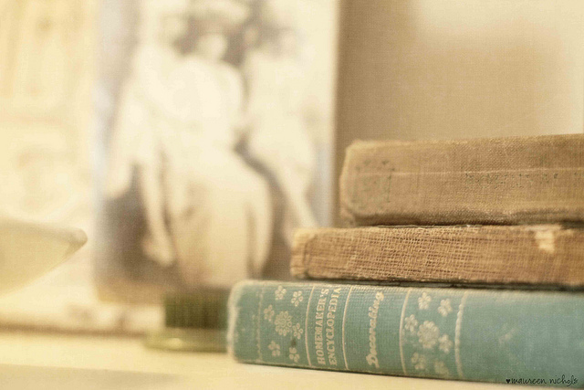 books, encyclopedia, light, old, vintage