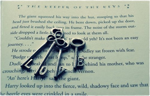 books, harry potter, keys, love, vintage