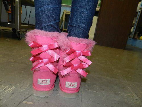 boots, girly, pink, ribbon, shoes
