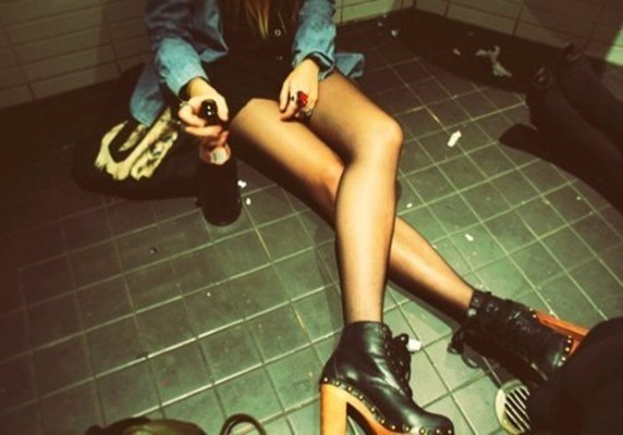 bottle, drunk, floor, girl, heels, legs, party, sexy, shoes