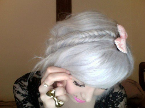 bow, bows, bowtie, braid, fashion, girl, hair, lipstick, pink lips, silver hair