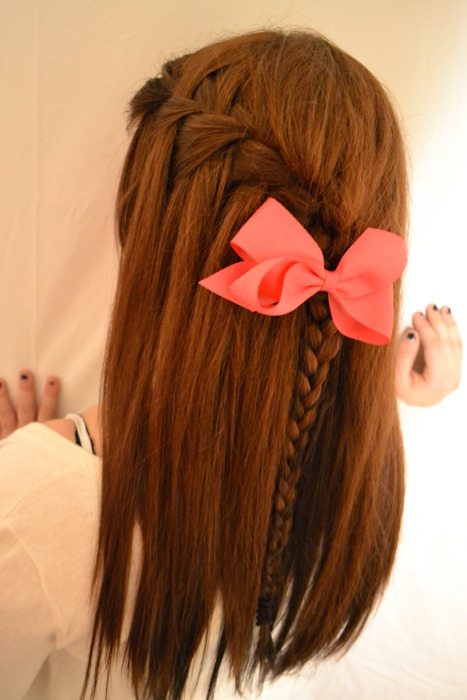 bow, braid, brown hair, cute, girl